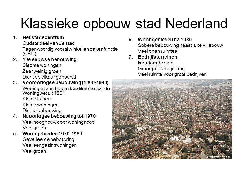 Klassieke opbouw stad Nederland 1. Het stadscentrum Oudste deel van de stad Tegenwoordig vooral winkel en zakenfunctie (CBD) 2. 19e eeuwse bebouwing: