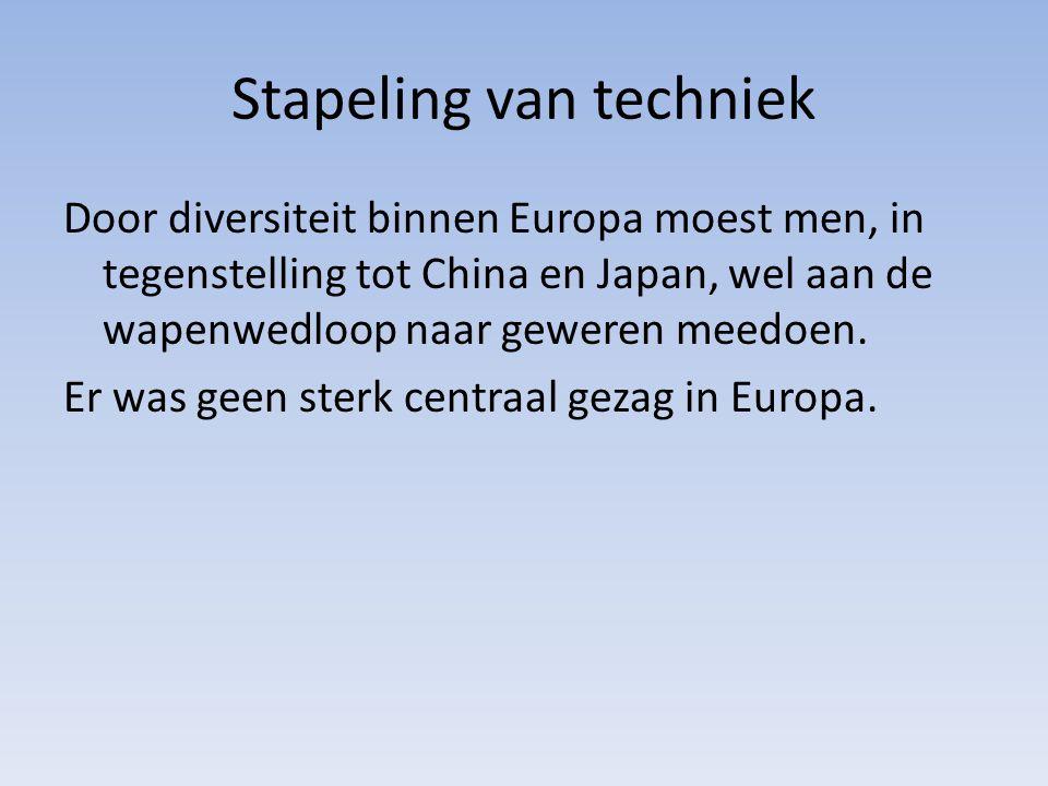 Stapeling van techniek Door diversiteit binnen Europa moest men, in tegenstelling tot China en Japan, wel aan de wapenwedloop naar geweren meedoen.