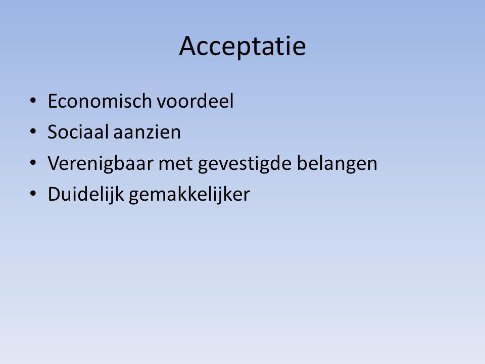 Acceptatie Economisch voordeel Sociaal aanzien Verenigbaar met gevestigde belangen Duidelijk gemakkelijker