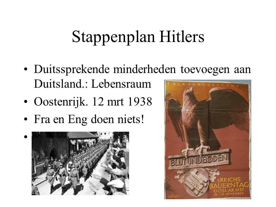 Stappenplan Hitlers Duitssprekende minderheden toevoegen aan Duitsland.: Lebensraum Oostenrijk. 12 mrt 1938 Fra en Eng doen niets! anschluss