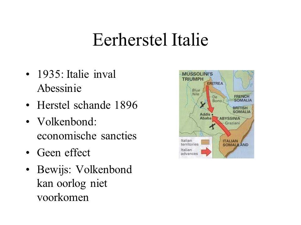 Eerherstel Italie 1935: Italie inval Abessinie Herstel schande 1896 Volkenbond: economische sancties Geen effect Bewijs: Volkenbond kan oorlog niet vo