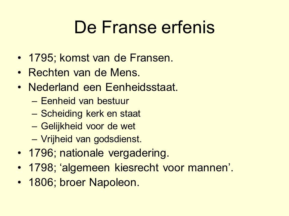 De Franse erfenis 1795; komst van de Fransen.Rechten van de Mens.