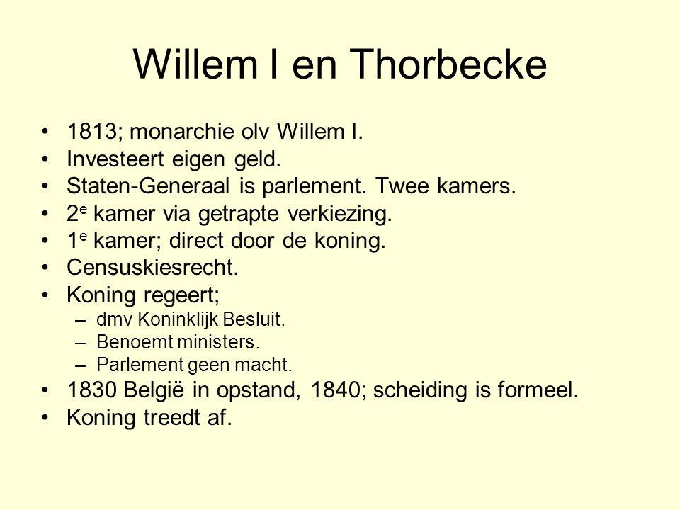 Willem I en Thorbecke 1813; monarchie olv Willem I.