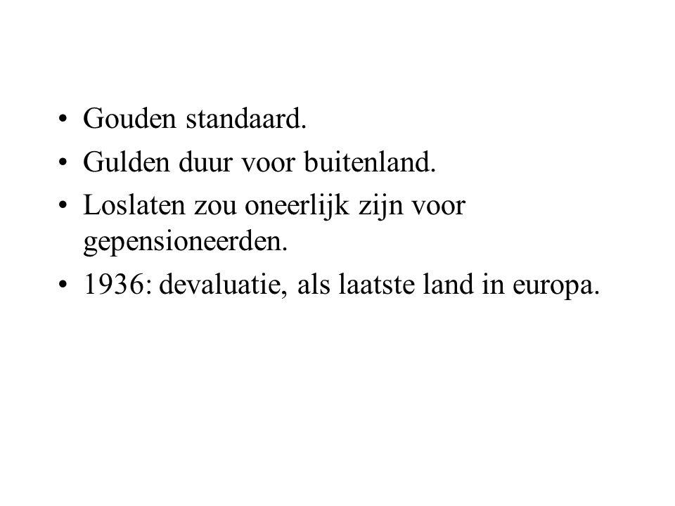 Gouden standaard. Gulden duur voor buitenland. Loslaten zou oneerlijk zijn voor gepensioneerden. 1936: devaluatie, als laatste land in europa.