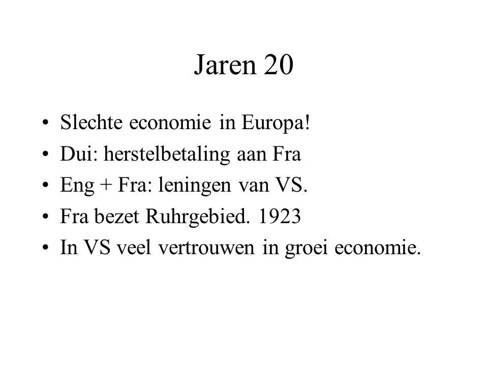 Jaren 20 Slechte economie in Europa! Dui: herstelbetaling aan Fra Eng + Fra: leningen van VS. Fra bezet Ruhrgebied. 1923 In VS veel vertrouwen in groe