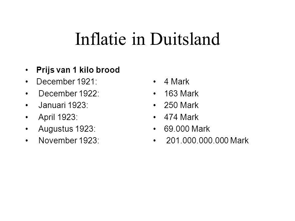 Inflatie in Duitsland Prijs van 1 kilo brood December 1921: December 1922: Januari 1923: April 1923: Augustus 1923: November 1923: 4 Mark 163 Mark 250