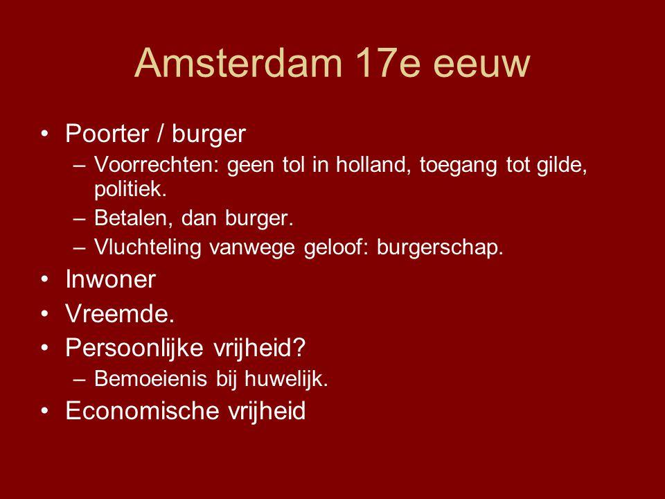 Amsterdam 17e eeuw Poorter / burger –Voorrechten: geen tol in holland, toegang tot gilde, politiek. –Betalen, dan burger. –Vluchteling vanwege geloof: