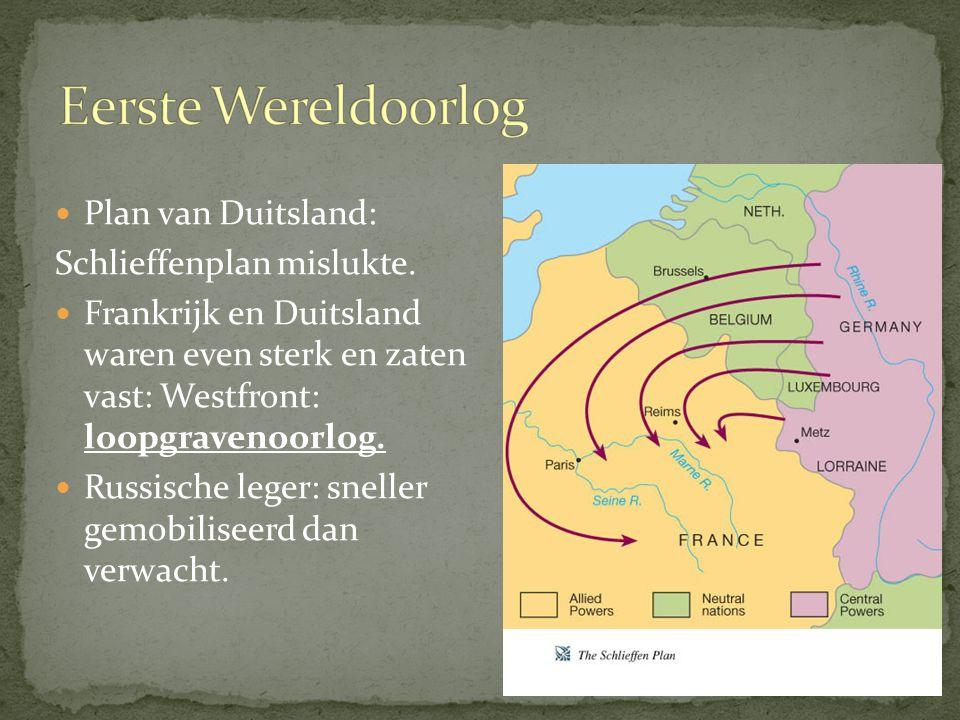 Plan van Duitsland: Schlieffenplan mislukte. Frankrijk en Duitsland waren even sterk en zaten vast: Westfront: loopgravenoorlog. Russische leger: snel