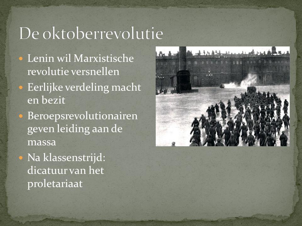 Lenin wil Marxistische revolutie versnellen Eerlijke verdeling macht en bezit Beroepsrevolutionairen geven leiding aan de massa Na klassenstrijd: dica
