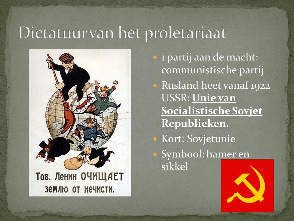 1 partij aan de macht: communistische partij Rusland heet vanaf 1922 USSR: Unie van Socialistische Sovjet Republieken. Kort: Sovjetunie Symbool: hamer