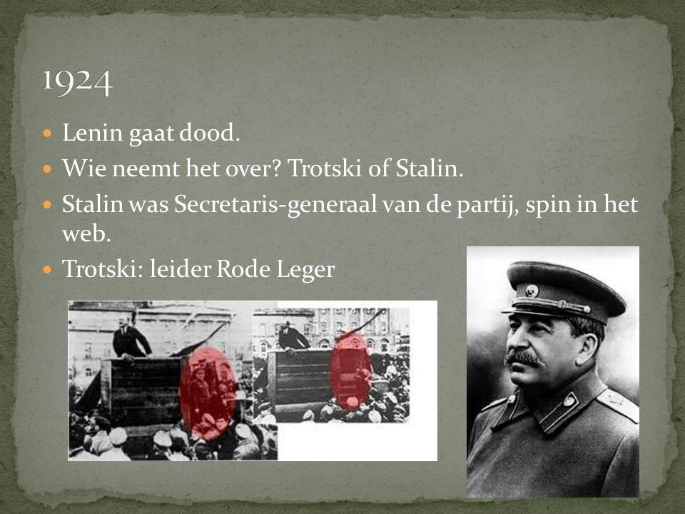 Lenin gaat dood. Wie neemt het over? Trotski of Stalin. Stalin was Secretaris-generaal van de partij, spin in het web. Trotski: leider Rode Leger
