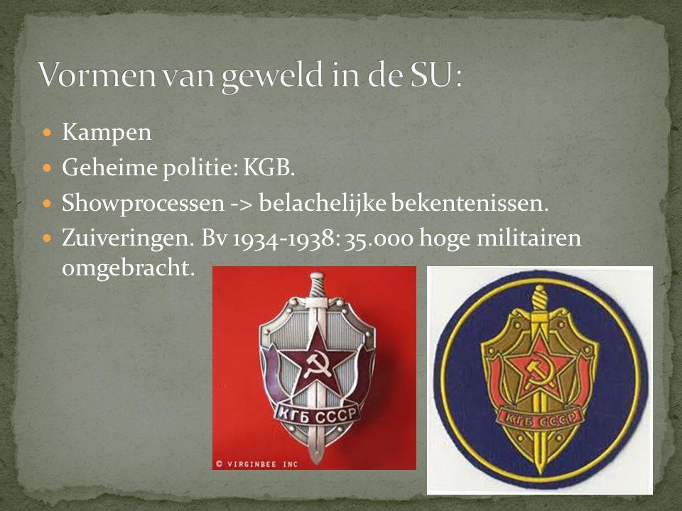 Kampen Geheime politie: KGB. Showprocessen -> belachelijke bekentenissen. Zuiveringen. Bv 1934-1938: 35.000 hoge militairen omgebracht.
