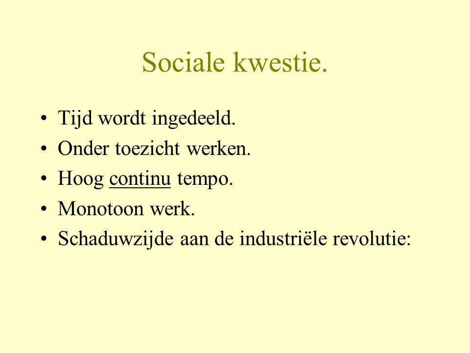 Sociale kwestie. Tijd wordt ingedeeld. Onder toezicht werken.