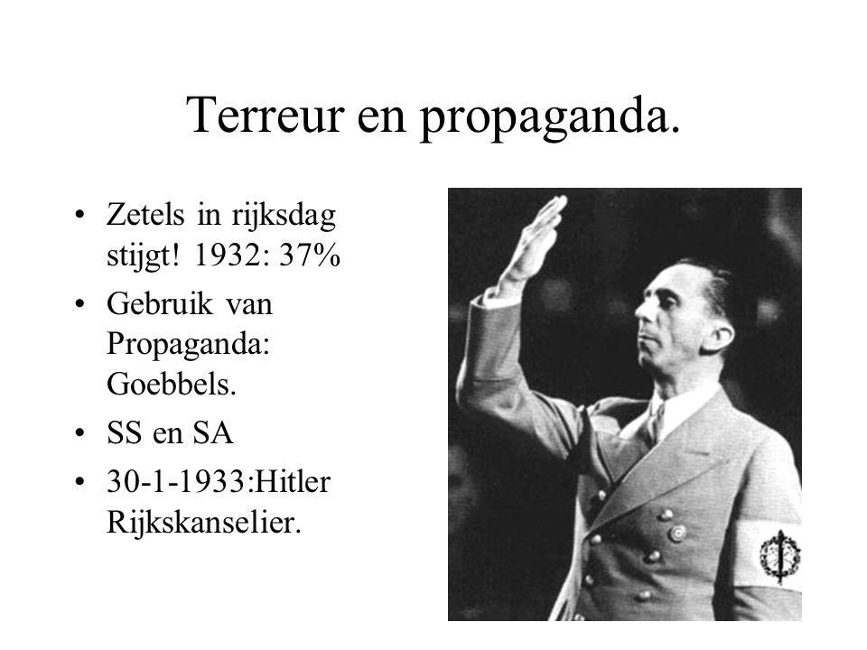 Terreur en propaganda. Zetels in rijksdag stijgt! 1932: 37% Gebruik van Propaganda: Goebbels. SS en SA 30-1-1933:Hitler Rijkskanselier.