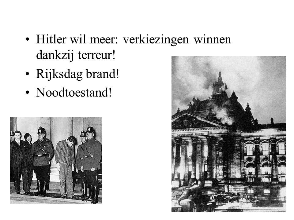 Hitler wil meer: verkiezingen winnen dankzij terreur! Rijksdag brand! Noodtoestand!