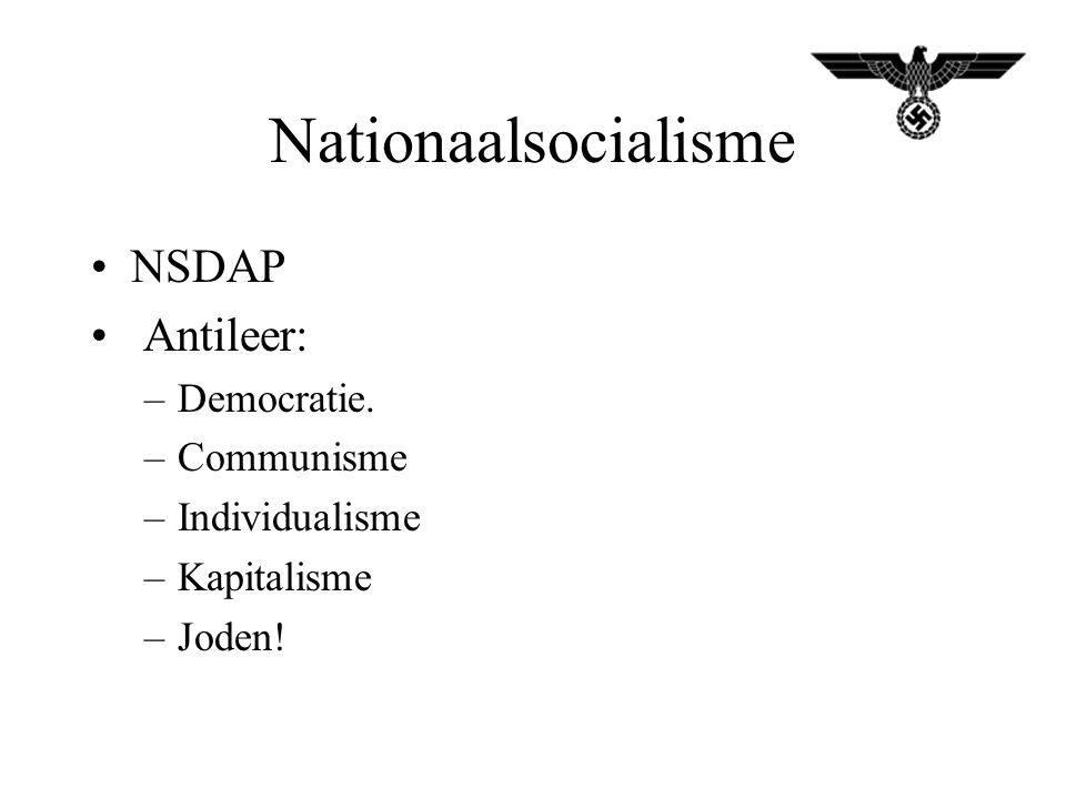 Nationaalsocialisme NSDAP Antileer: –Democratie. –Communisme –Individualisme –Kapitalisme –Joden!