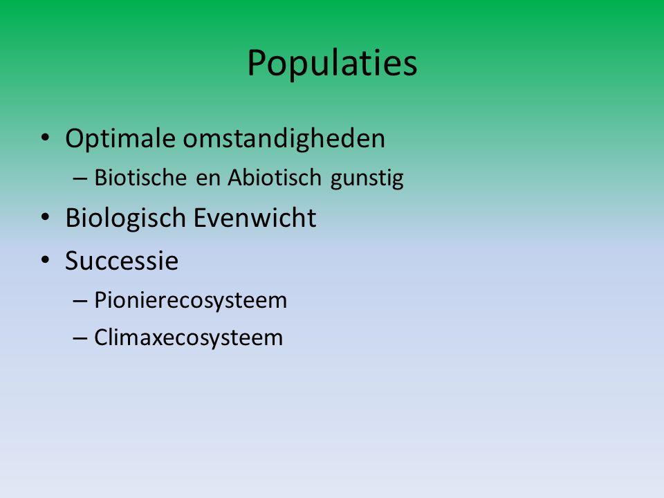Populaties Optimale omstandigheden – Biotische en Abiotisch gunstig Biologisch Evenwicht Successie – Pionierecosysteem – Climaxecosysteem