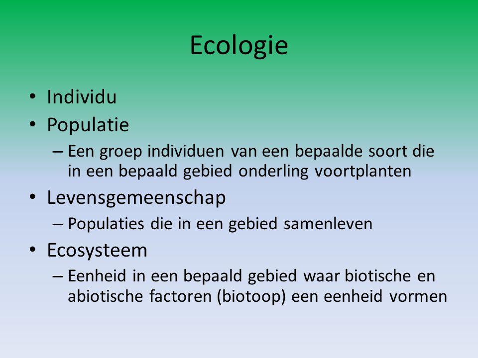 Individu Populatie – Een groep individuen van een bepaalde soort die in een bepaald gebied onderling voortplanten Levensgemeenschap – Populaties die i