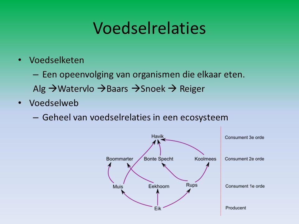 Voedselrelaties Voedselketen – Een opeenvolging van organismen die elkaar eten. Alg  Watervlo  Baars  Snoek  Reiger Voedselweb – Geheel van voedse