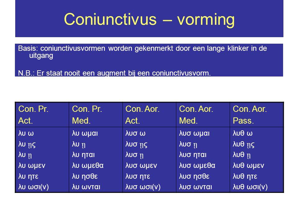 Coniunctivus in hoofdzinnen Aansporing (con.adhortativus) ἰ ωμεν – laten wij gaan Verbod (con.
