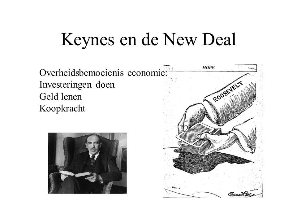 Keynes en de New Deal Overheidsbemoeienis economie: Investeringen doen Geld lenen Koopkracht