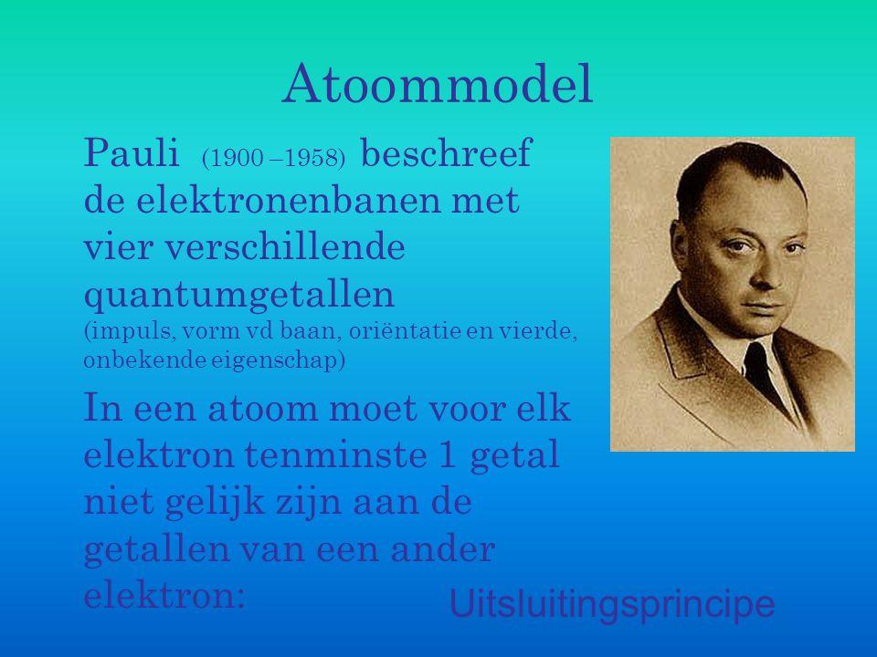 Atoommodel Pauli (1900 –1958) beschreef de elektronenbanen met vier verschillende quantumgetallen (impuls, vorm vd baan, oriëntatie en vierde, onbeken