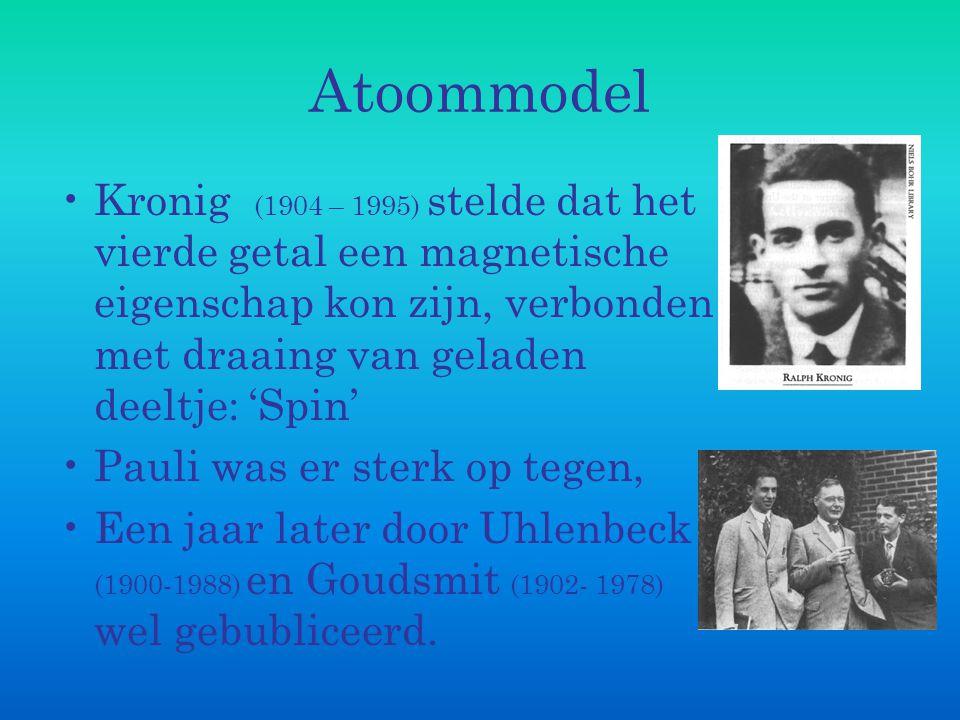 Atoommodel Kronig (1904 – 1995) stelde dat het vierde getal een magnetische eigenschap kon zijn, verbonden met draaing van geladen deeltje: 'Spin' Pau