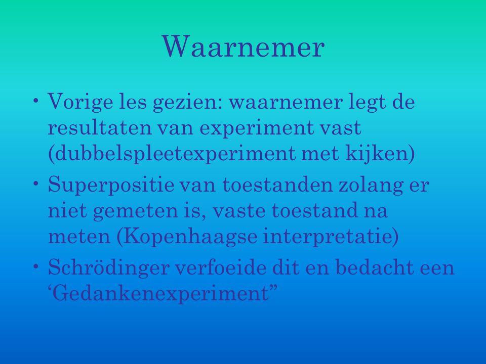 Waarnemer Vorige les gezien: waarnemer legt de resultaten van experiment vast (dubbelspleetexperiment met kijken) Superpositie van toestanden zolang e