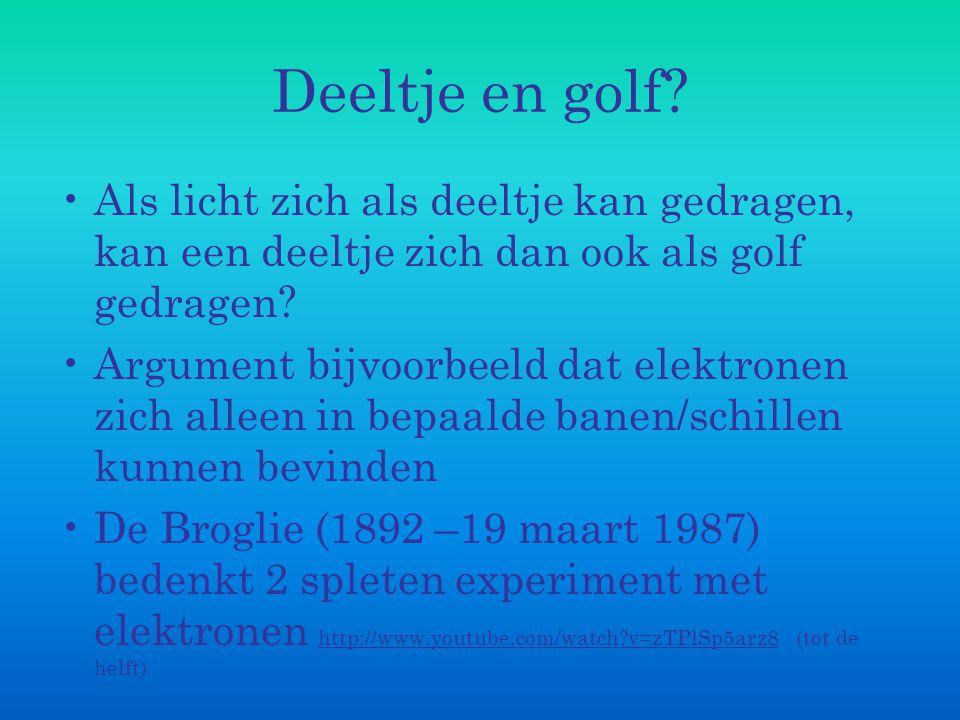 Deeltje en golf? Als licht zich als deeltje kan gedragen, kan een deeltje zich dan ook als golf gedragen? Argument bijvoorbeeld dat elektronen zich al
