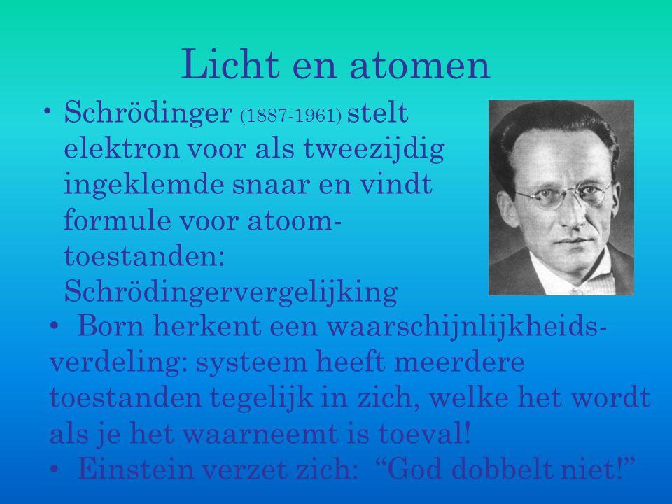 Licht en atomen Schrödinger (1887-1961) stelt elektron voor als tweezijdig ingeklemde snaar en vindt formule voor atoom- toestanden: Schrödingervergel