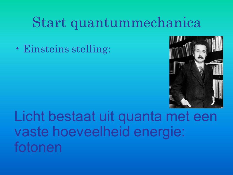Start quantummechanica Einsteins stelling: Licht bestaat uit quanta met een vaste hoeveelheid energie: fotonen