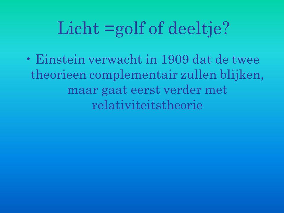 Licht =golf of deeltje? Einstein verwacht in 1909 dat de twee theorieen complementair zullen blijken, maar gaat eerst verder met relativiteitstheorie