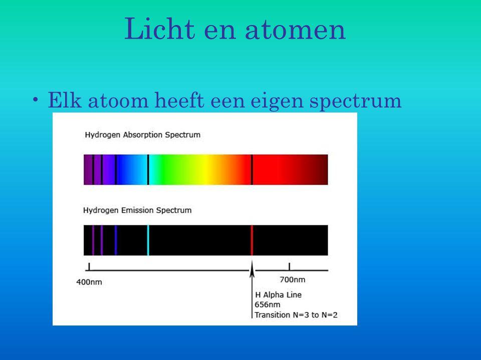 Licht en atomen Bohr (1885-1962), gaat werken aan atoommodel: verschillende elektronenbanen, licht wordt uitgezonden omdat terugvallen alleen in een stap kan gebeuren (vgl planeten model) http://www.mhhe.com/physsci/astronomy/applet s/Bohr/frame.htmlhttp://www.mhhe.com/physsci/astronomy/applet s/Bohr/frame.html