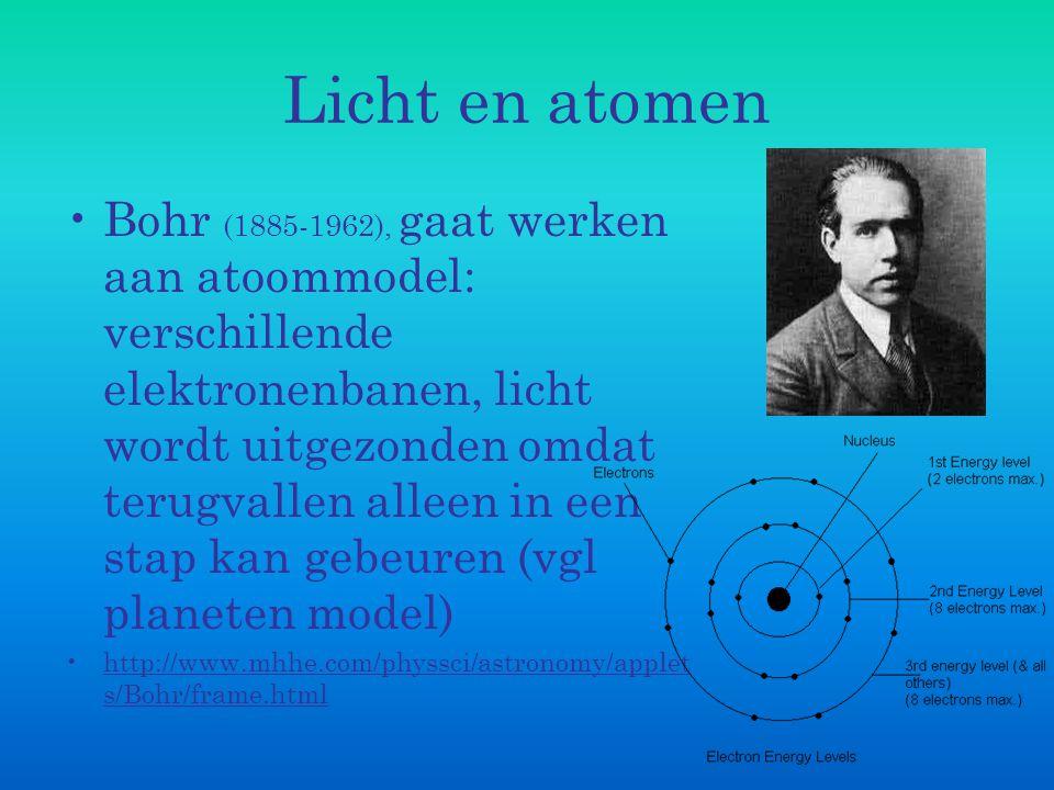 Licht en atomen Bohr (1885-1962), gaat werken aan atoommodel: verschillende elektronenbanen, licht wordt uitgezonden omdat terugvallen alleen in een s