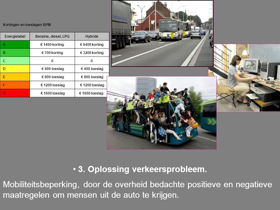 3. Oplossing verkeersprobleem. Mobiliteitsbeperking, door de overheid bedachte positieve en negatieve maatregelen om mensen uit de auto te krijgen. Ko