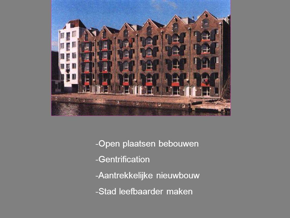 -Open plaatsen bebouwen -Gentrification -Aantrekkelijke nieuwbouw -Stad leefbaarder maken