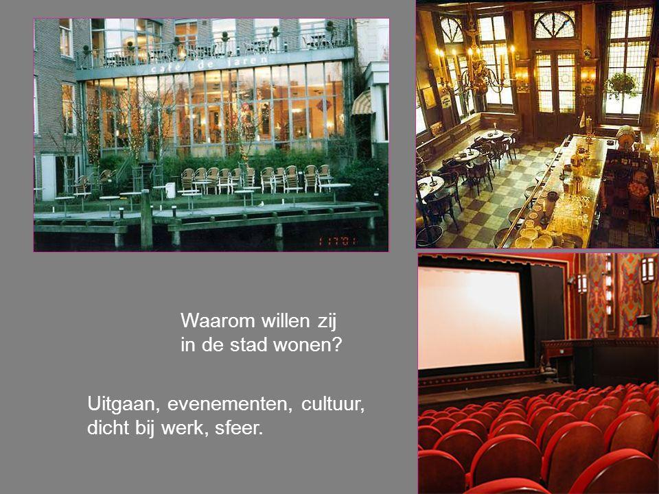 Waarom willen zij in de stad wonen? Uitgaan, evenementen, cultuur, dicht bij werk, sfeer.