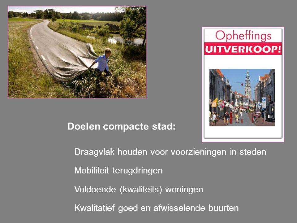 Doelen compacte stad: Draagvlak houden voor voorzieningen in steden Mobiliteit terugdringen Voldoende (kwaliteits) woningen Kwalitatief goed en afwiss