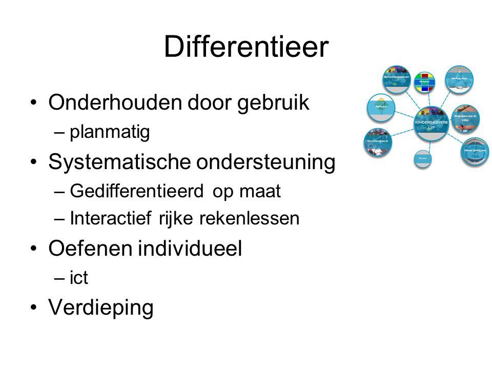 Differentieer Onderhouden door gebruik –planmatig Systematische ondersteuning –Gedifferentieerd op maat –Interactief rijke rekenlessen Oefenen individueel –ict Verdieping
