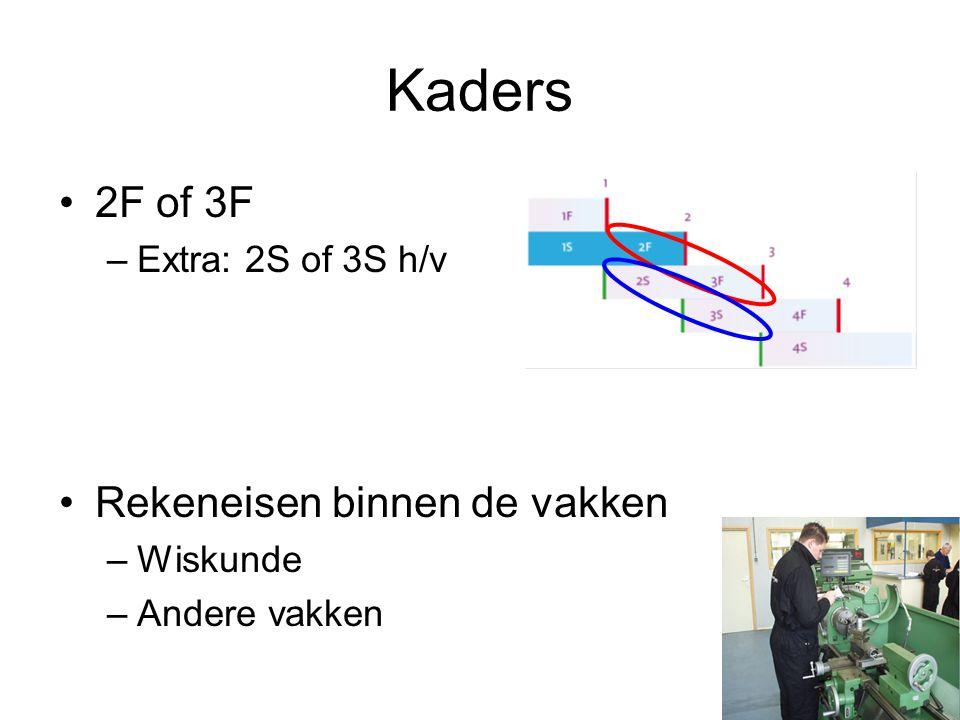Kaders 2F of 3F –Extra: 2S of 3S h/v Rekeneisen binnen de vakken –Wiskunde –Andere vakken