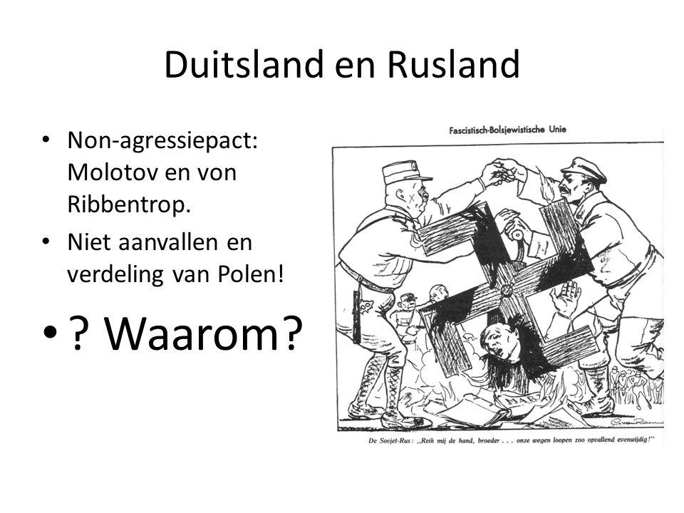 Duitsland en Rusland Non-agressiepact: Molotov en von Ribbentrop. Niet aanvallen en verdeling van Polen! ? Waarom?