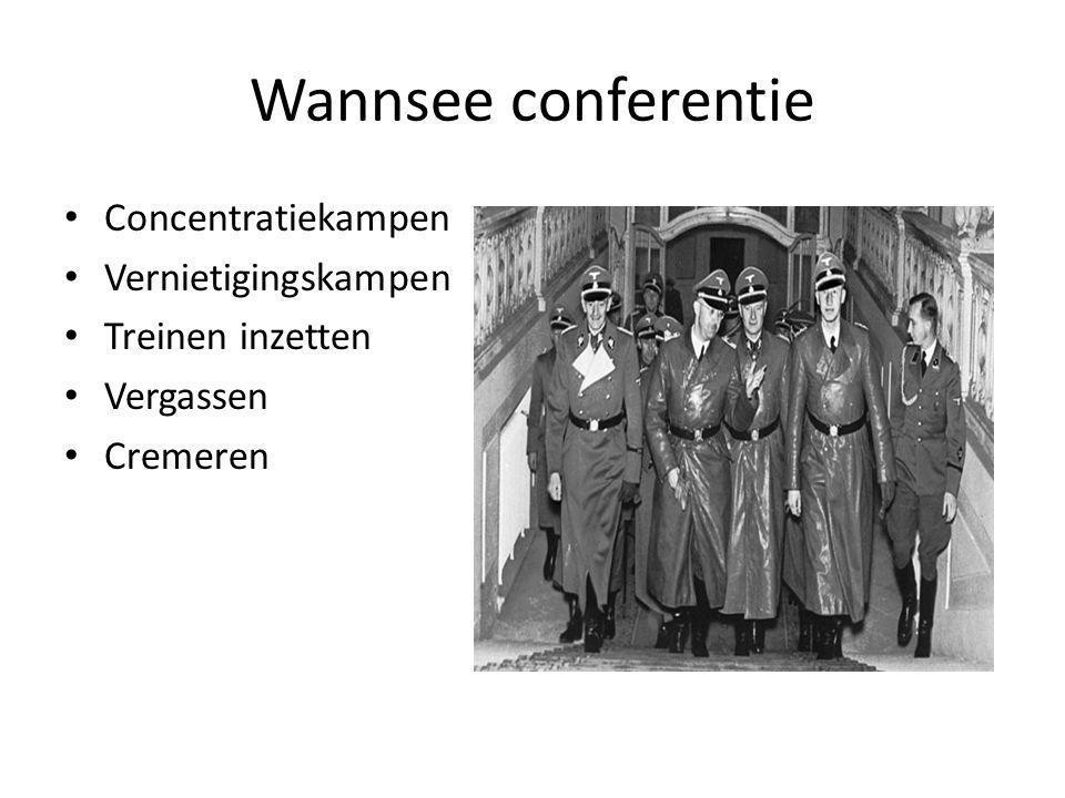 Wannsee conferentie Concentratiekampen Vernietigingskampen Treinen inzetten Vergassen Cremeren