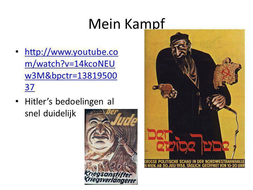 Mein Kampf http://www.youtube.co m/watch?v=14kcoNEU w3M&bpctr=13819500 37 http://www.youtube.co m/watch?v=14kcoNEU w3M&bpctr=13819500 37 Hitler's bedoelingen al snel duidelijk