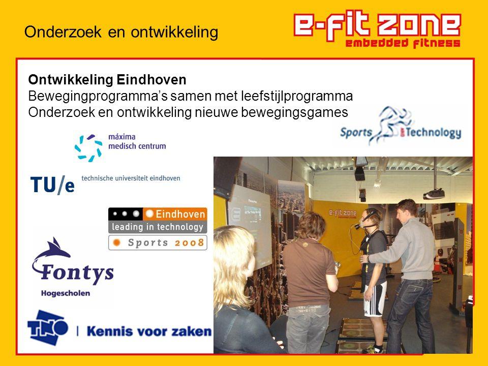 Ontwikkeling Eindhoven Bewegingprogramma's samen met leefstijlprogramma Onderzoek en ontwikkeling nieuwe bewegingsgames Onderzoek en ontwikkeling