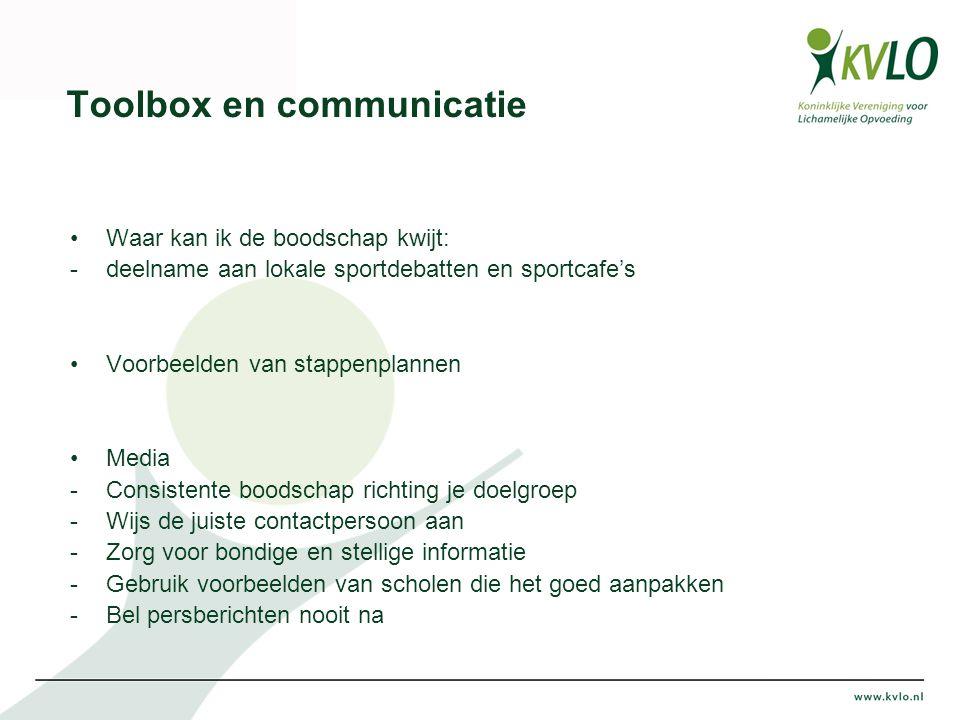 Toolbox en communicatie Waar kan ik de boodschap kwijt: -deelname aan lokale sportdebatten en sportcafe's Voorbeelden van stappenplannen Media -Consis