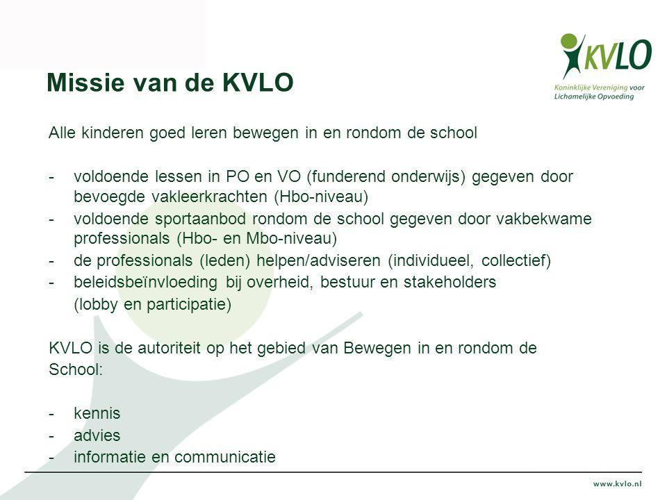 Missie van de KVLO Alle kinderen goed leren bewegen in en rondom de school -voldoende lessen in PO en VO (funderend onderwijs) gegeven door bevoegde vakleerkrachten (Hbo-niveau) -voldoende sportaanbod rondom de school gegeven door vakbekwame professionals (Hbo- en Mbo-niveau) -de professionals (leden) helpen/adviseren (individueel, collectief) -beleidsbeïnvloeding bij overheid, bestuur en stakeholders (lobby en participatie) KVLO is de autoriteit op het gebied van Bewegen in en rondom de School: -kennis -advies -informatie en communicatie