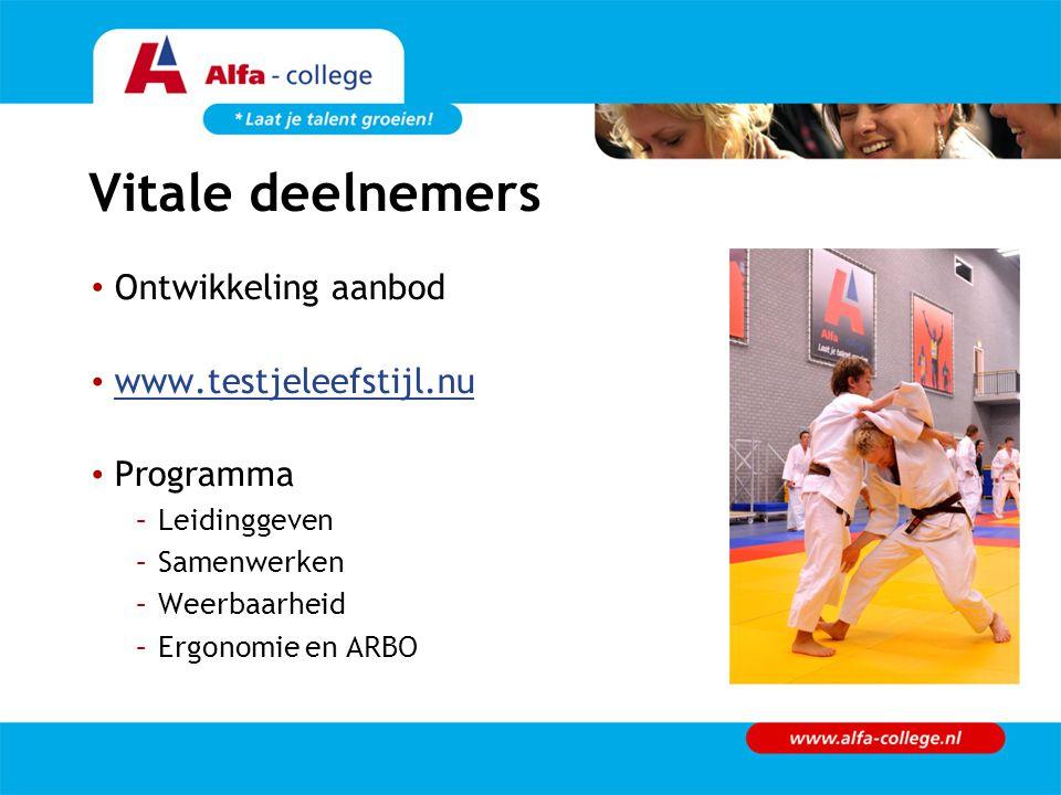 Vitale deelnemers Ontwikkeling aanbod www.testjeleefstijl.nu Programma –Leidinggeven –Samenwerken –Weerbaarheid –Ergonomie en ARBO