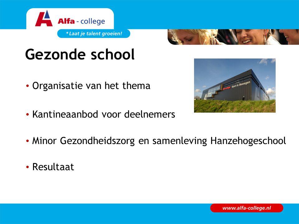 Gezonde school Organisatie van het thema Kantineaanbod voor deelnemers Minor Gezondheidszorg en samenleving Hanzehogeschool Resultaat