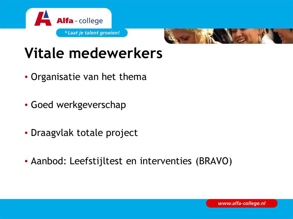 Vitale medewerkers Organisatie van het thema Goed werkgeverschap Draagvlak totale project Aanbod: Leefstijltest en interventies (BRAVO)