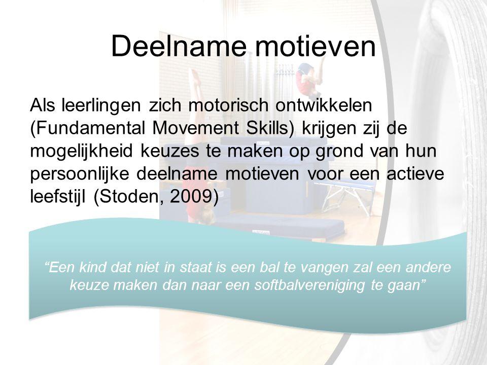 Deelname motieven Als leerlingen zich motorisch ontwikkelen (Fundamental Movement Skills) krijgen zij de mogelijkheid keuzes te maken op grond van hun